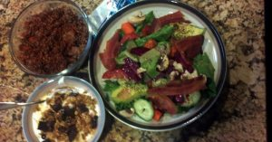 Quinoa & Beef. Big Salad & some greek yogurt w/granola, honey and dark chocolate -- Dinner and Dessert